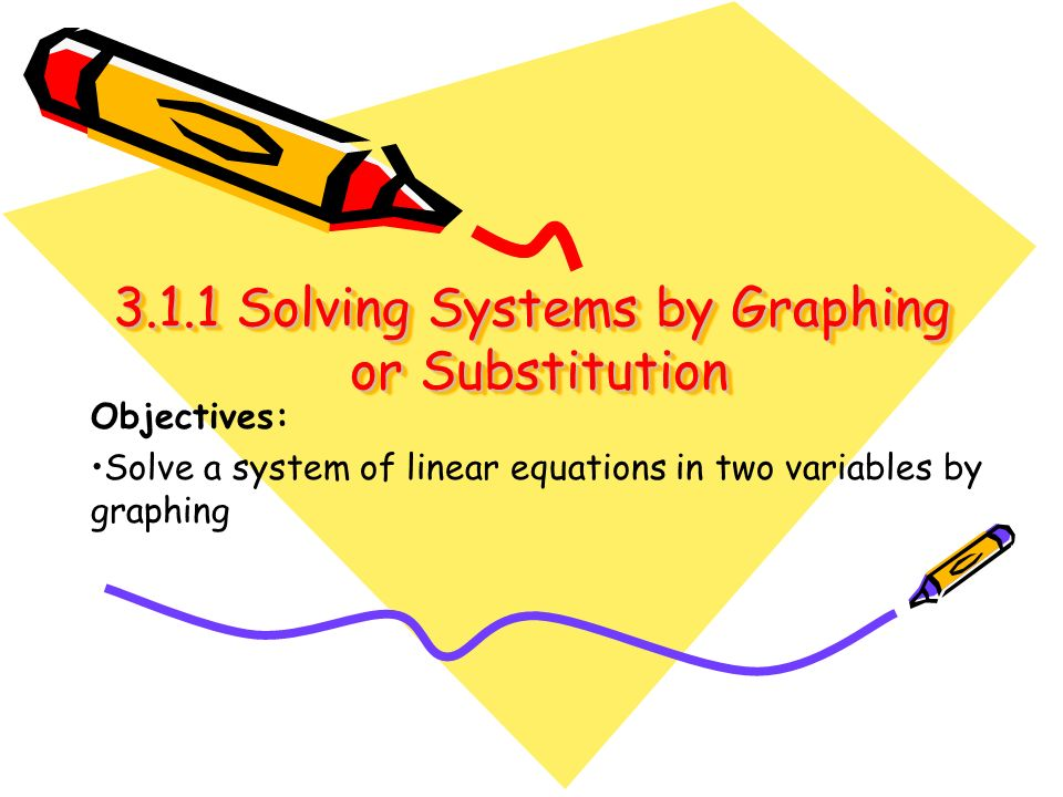 3.1.1 Solving Systems by Graphing or Substitution