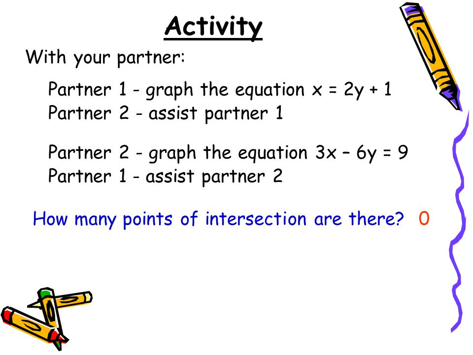 Activity With your partner: Partner 1 - graph the equation x = 2y + 1