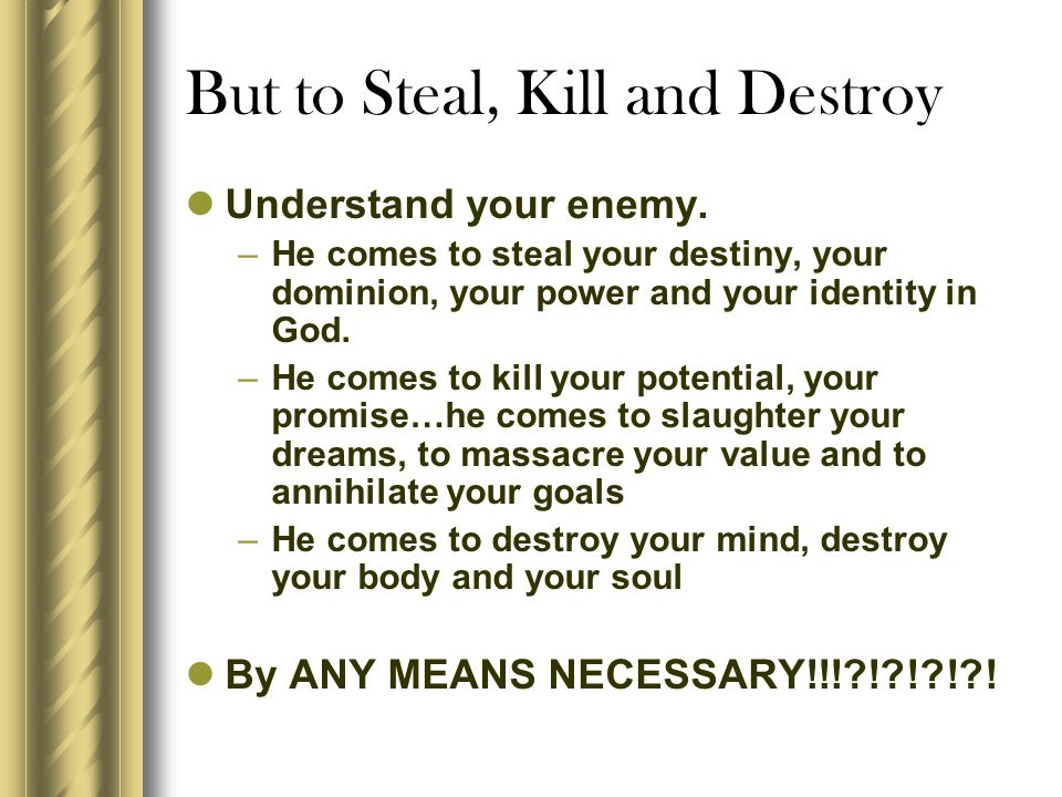 But to Steal, Kill and Destroy