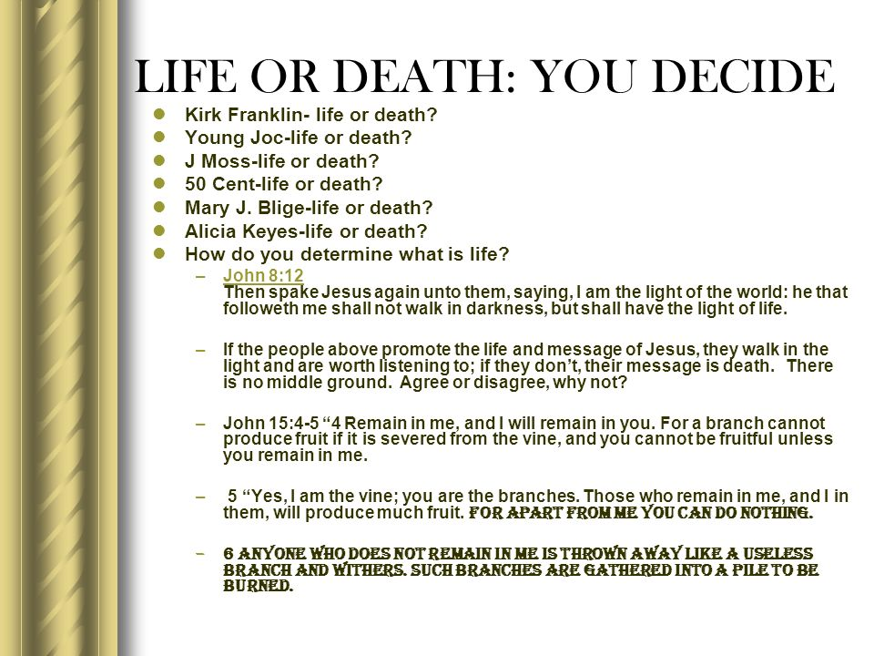 LIFE OR DEATH: YOU DECIDE