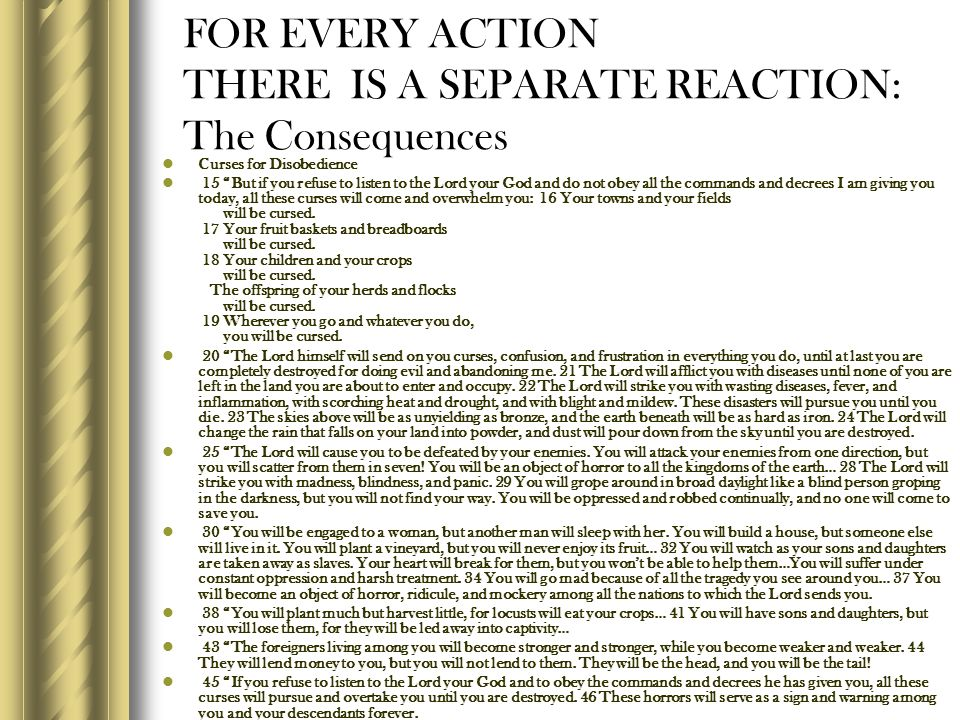 FOR EVERY ACTION THERE IS A SEPARATE REACTION: The Consequences