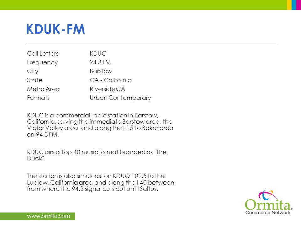 KDUK-FM Call Letters KDUC Frequency 94.3 FM City Barstow
