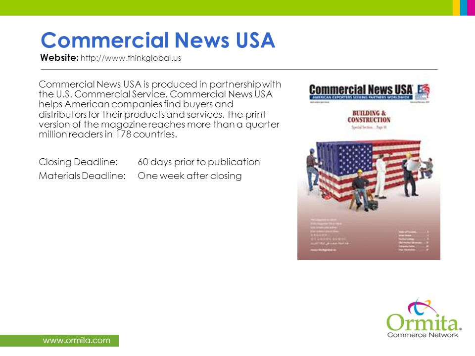 Commercial News USA Website: http://www.thinkglobal.us