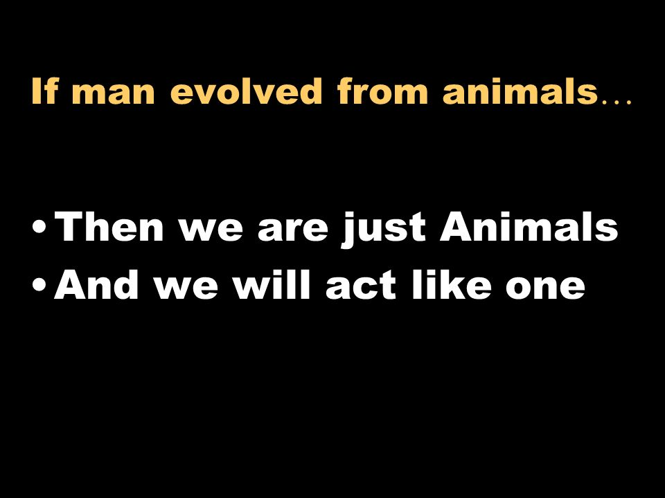 If man evolved from animals…