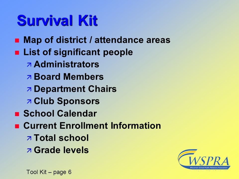 Survival Kit Map of district / attendance areas