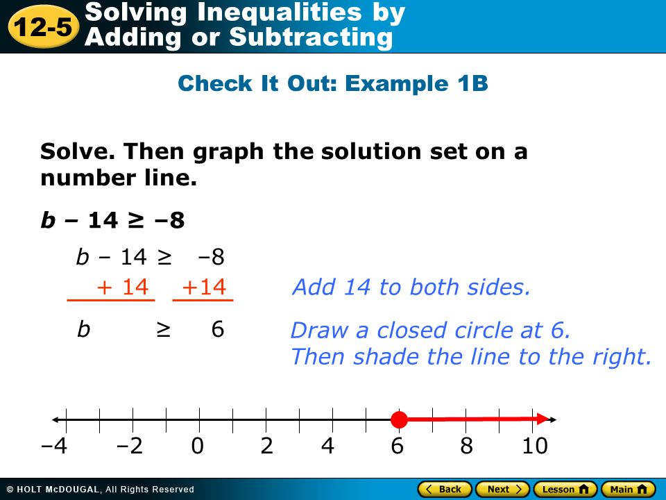 Check It Out: Example 1B Solve. Then graph the solution set on a number line. b – 14 ≥ –8. b – 14 ≥ –8.