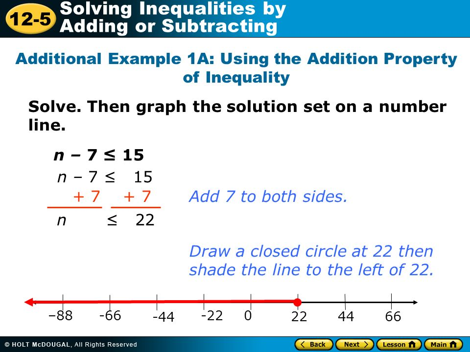 Additional Example 1A: Using the Addition Property of Inequality