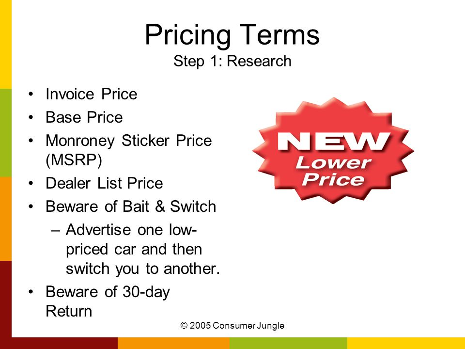 Pricing Terms Step 1: Research