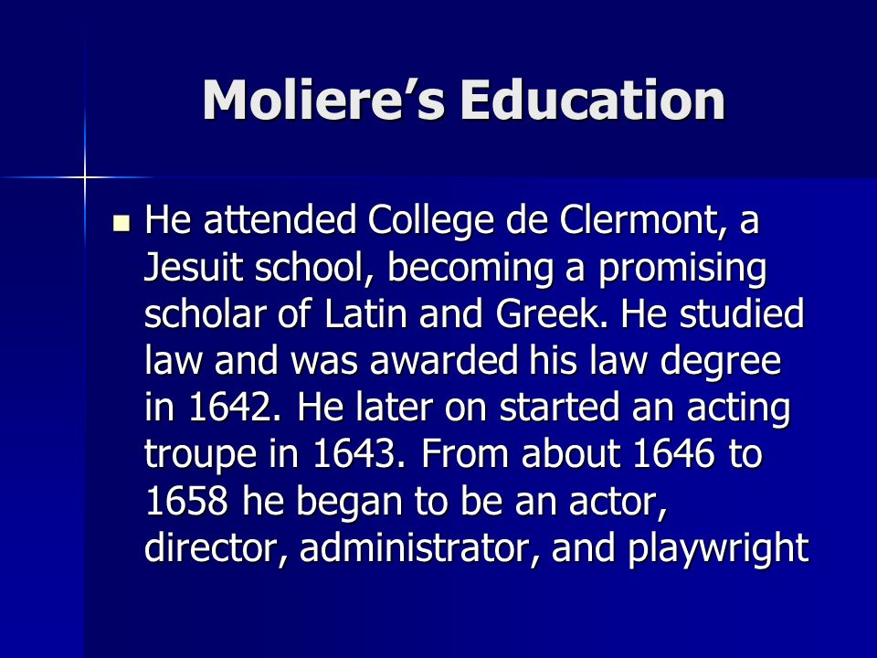 Moliere's Education