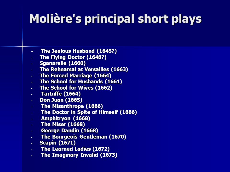 Molière s principal short plays