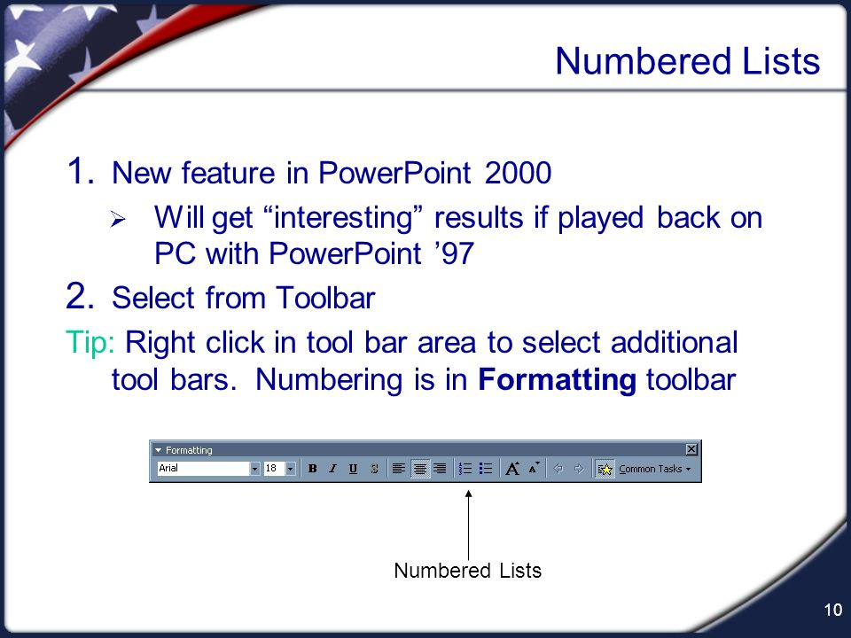 Numbered Lists New feature in PowerPoint 2000