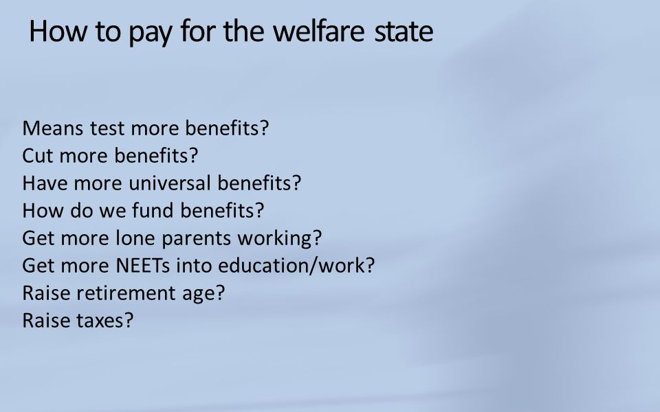 How to pay for the welfare state