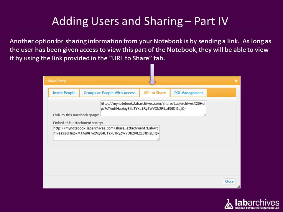 Adding Users and Sharing – Part IV