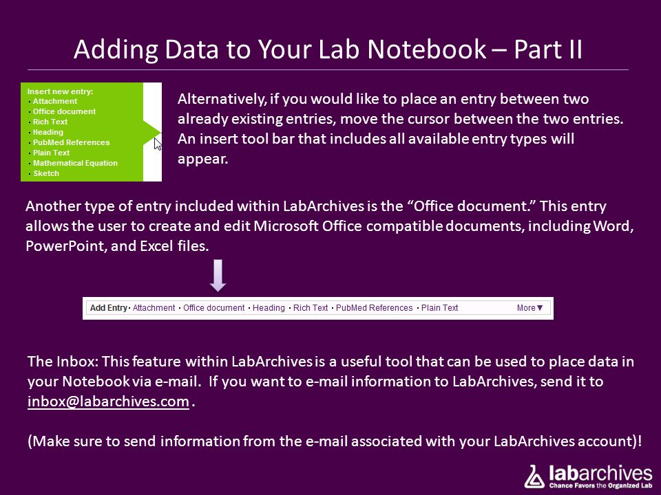 Adding Data to Your Lab Notebook – Part II