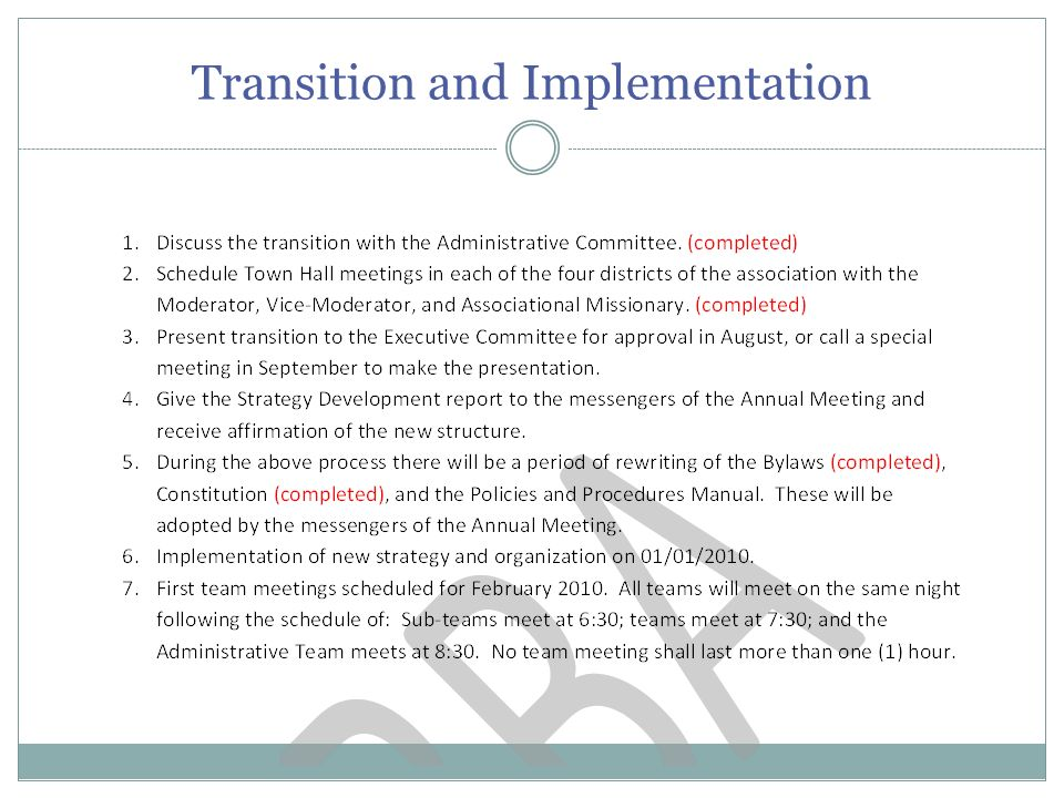 Transition and Implementation