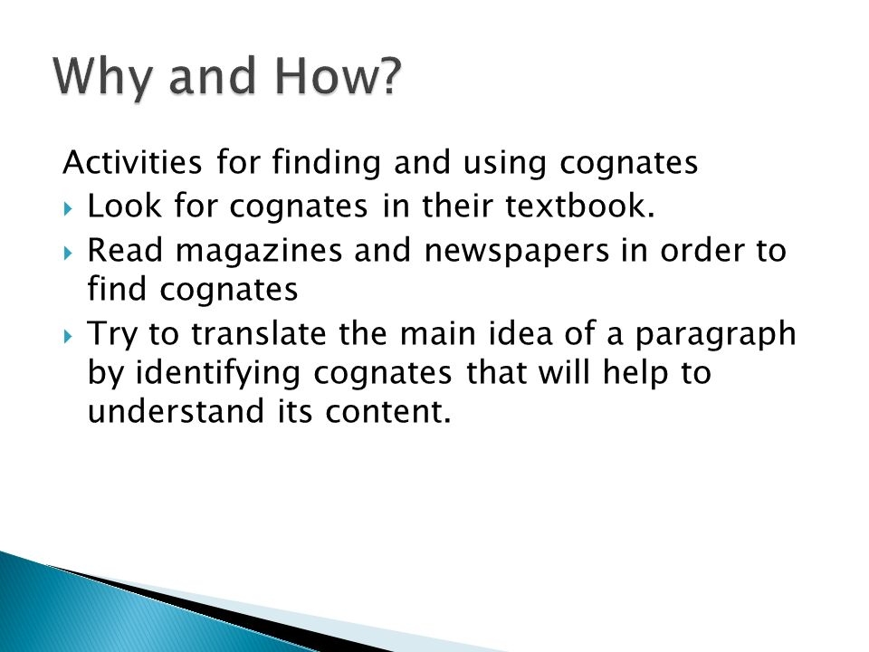 Why and How Activities for finding and using cognates
