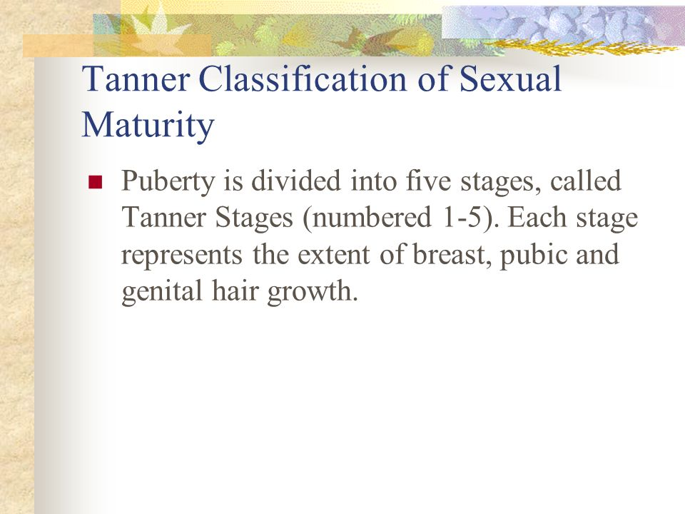 Tanner Classification of Sexual Maturity