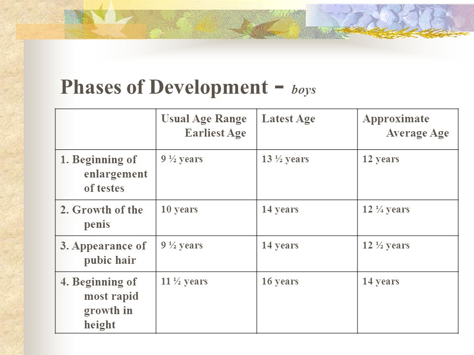 Phases of Development - boys