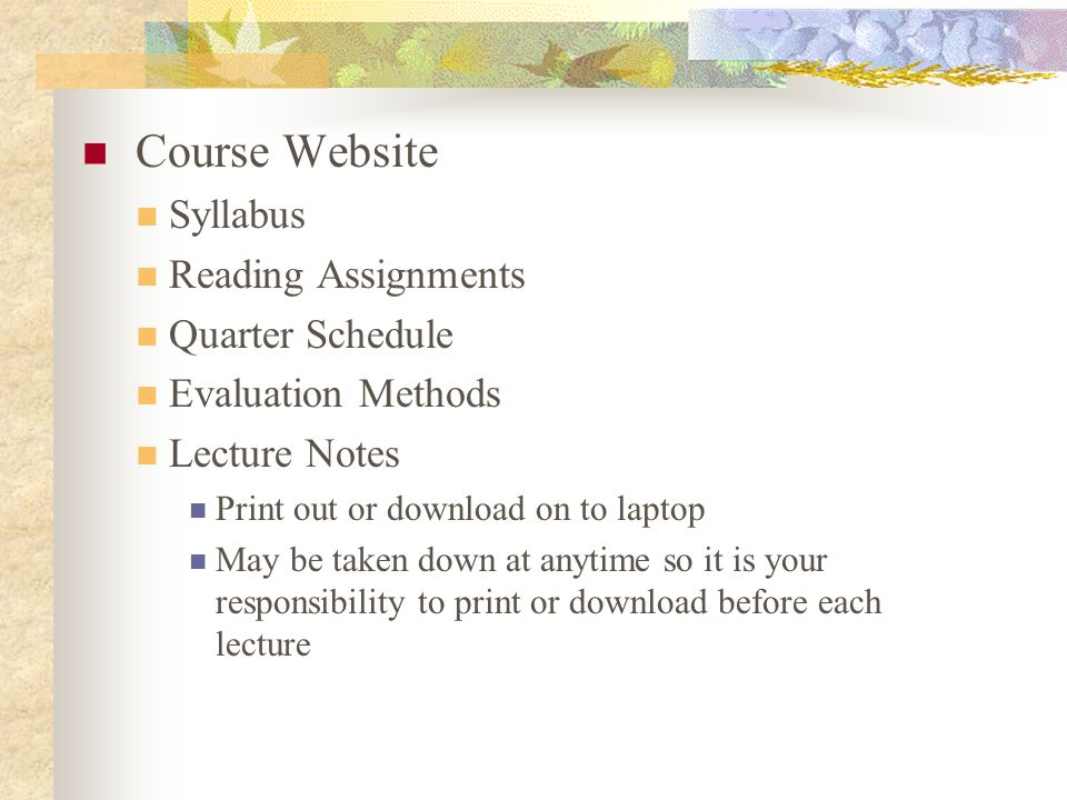 Course Website Syllabus Reading Assignments Quarter Schedule