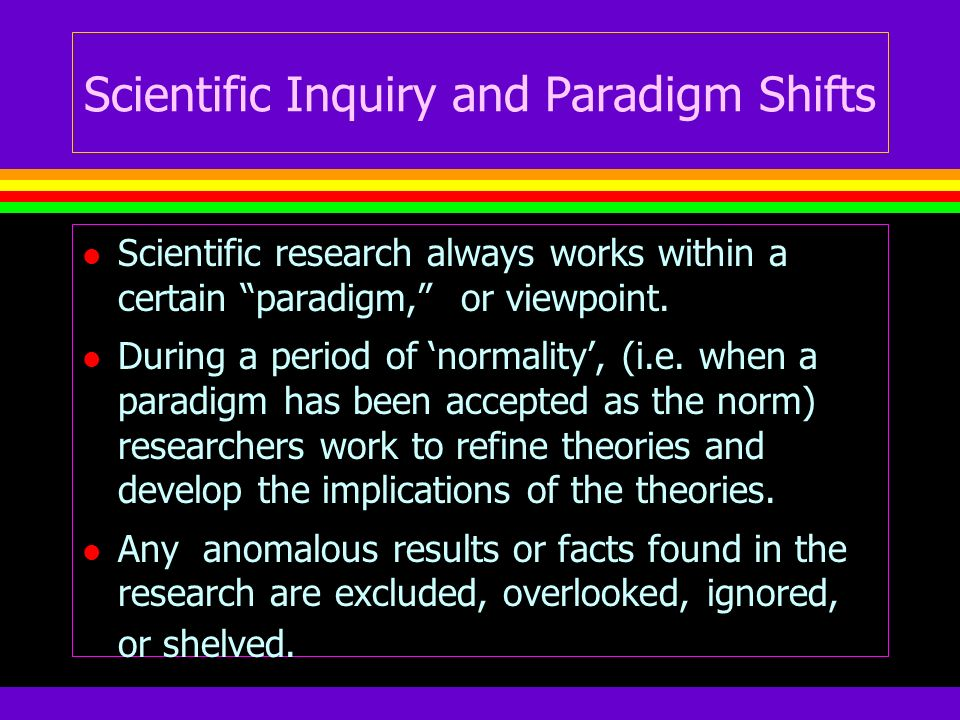 Scientific Inquiry and Paradigm Shifts