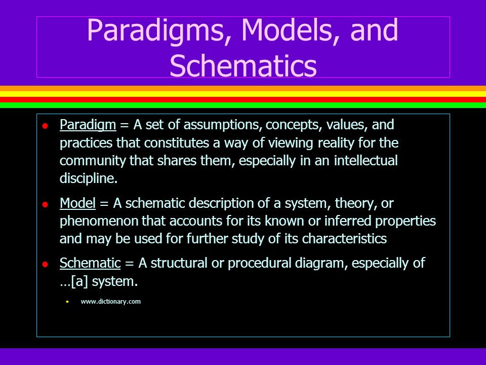 Paradigms, Models, and Schematics
