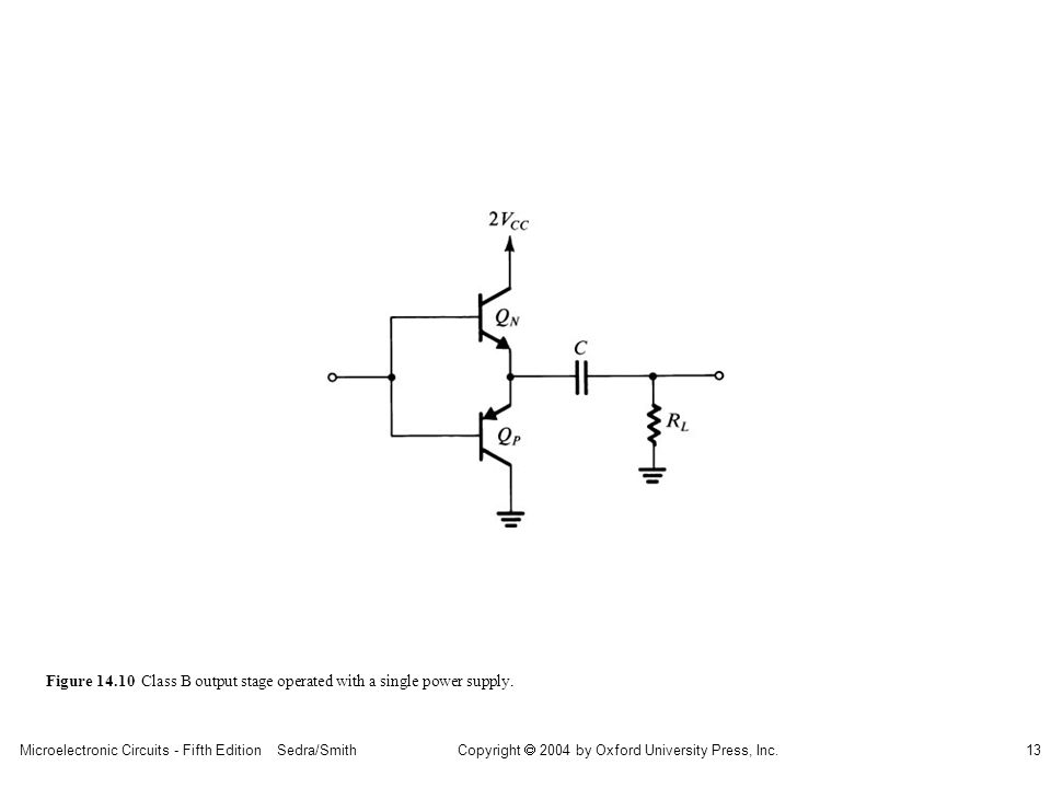 sedr42021_1410.jpg Figure 14.10 Class B output stage operated with a single power supply.