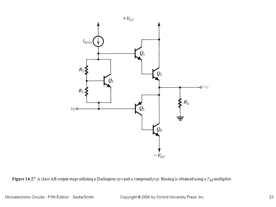 sedr42021_1427.jpg Figure A class AB output stage utilizing a Darlington npn and a compound pnp.
