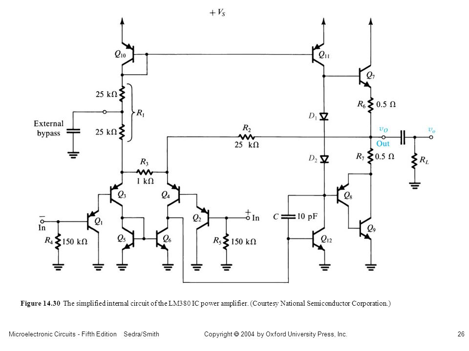 sedr42021_1430.jpg Figure 14.30 The simplified internal circuit of the LM380 IC power amplifier.