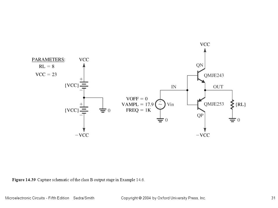 sedr42021_1439.jpg Figure 14.39 Capture schematic of the class B output stage in Example 14.6.