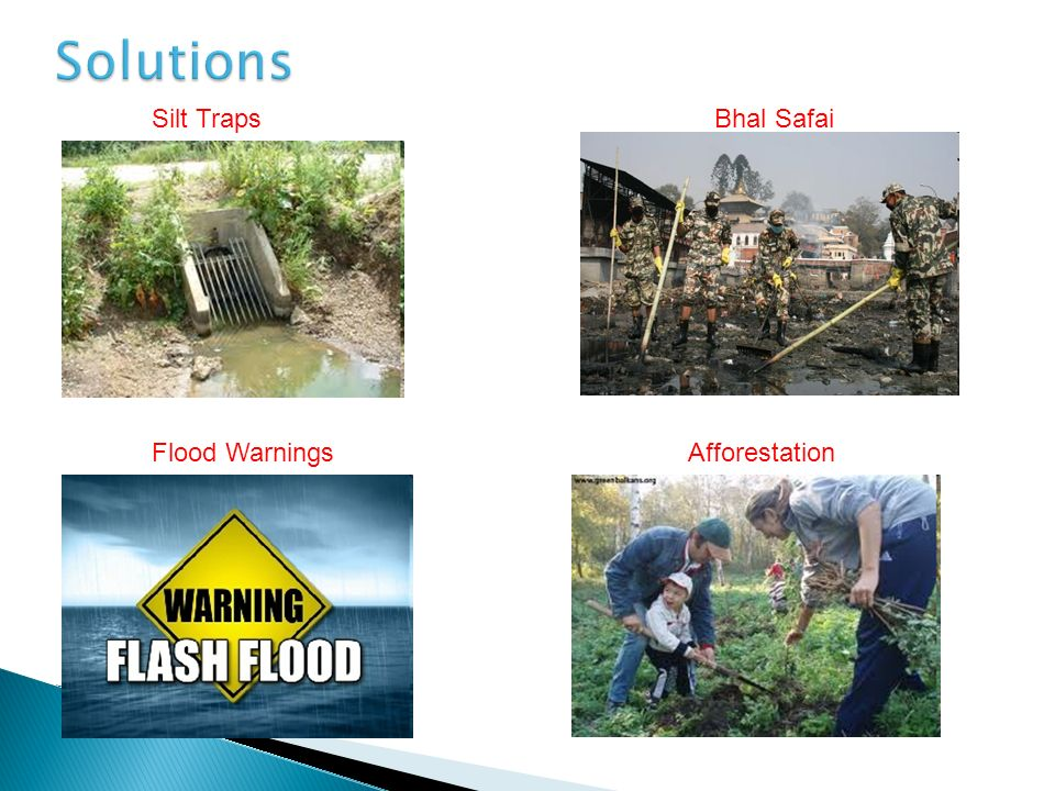 Solutions Silt Traps Bhal Safai Flood Warnings Afforestation
