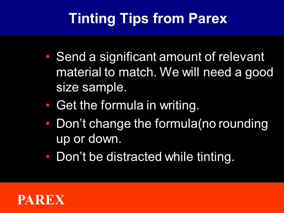 Tinting Tips from Parex