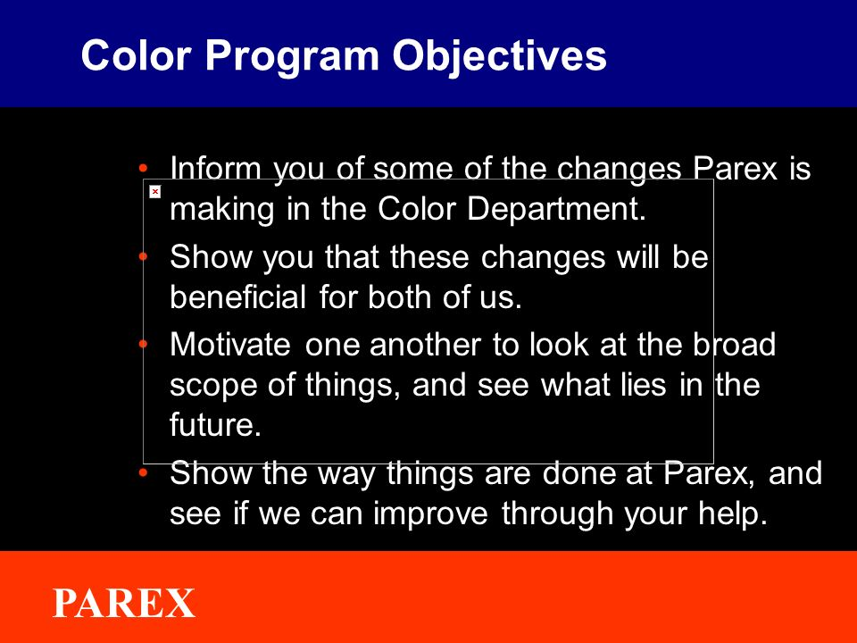 Color Program Objectives