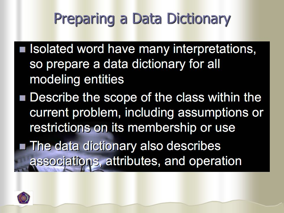 Preparing a Data Dictionary