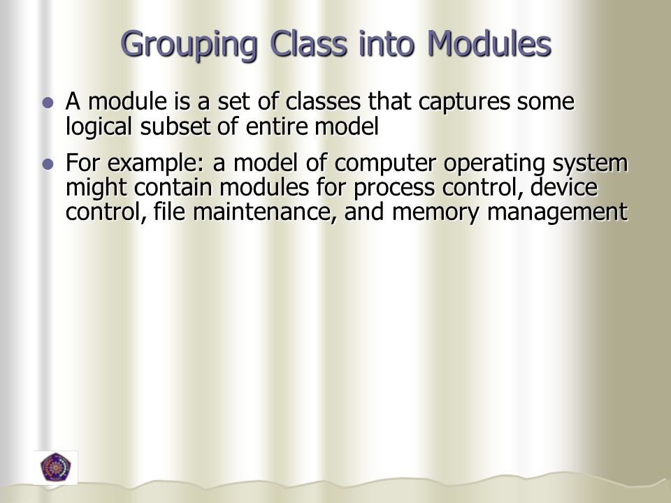 Grouping Class into Modules