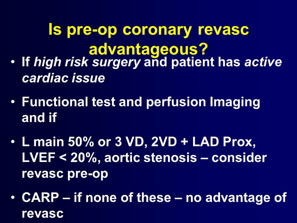 Is pre-op coronary revasc advantageous