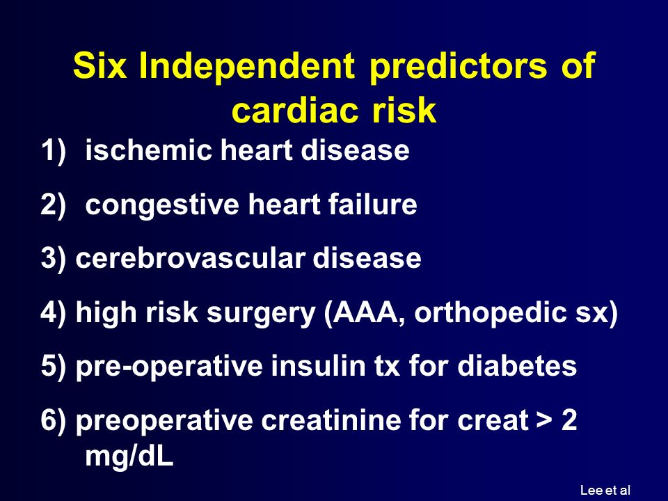 Six Independent predictors of cardiac risk