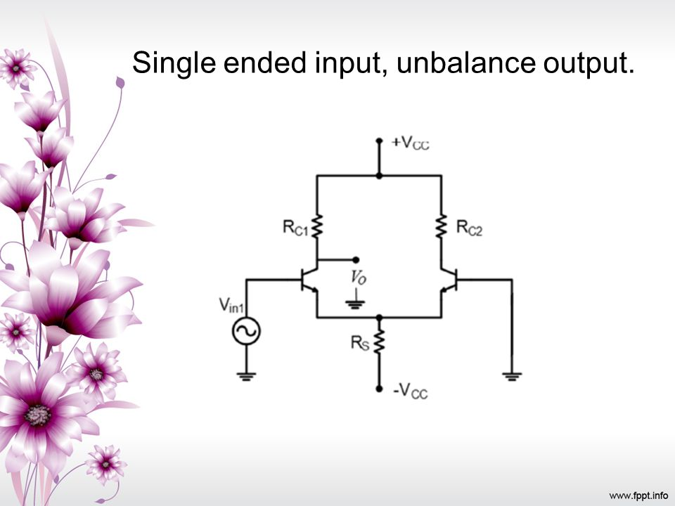 Single ended input, unbalance output.