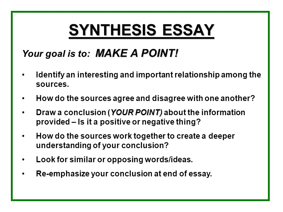 SYNTHESIS ESSAY Your goal is to: MAKE A POINT!