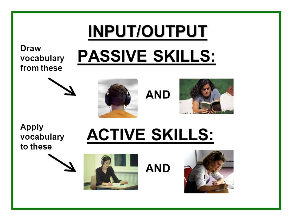 INPUT/OUTPUT PASSIVE SKILLS: ACTIVE SKILLS: AND AND