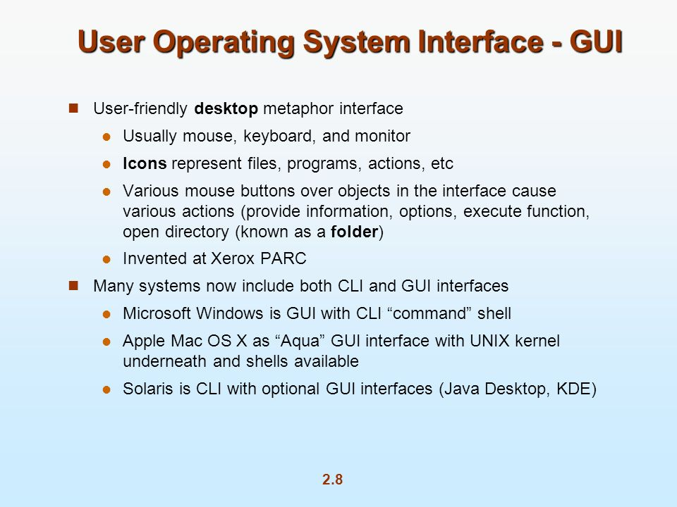 User Operating System Interface - GUI