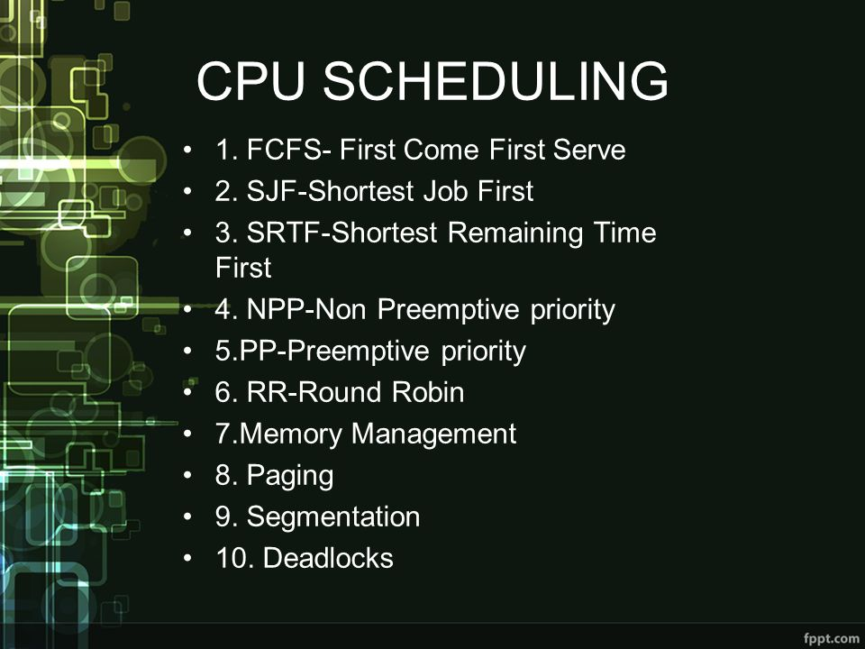CPU SCHEDULING 1. FCFS- First Come First Serve