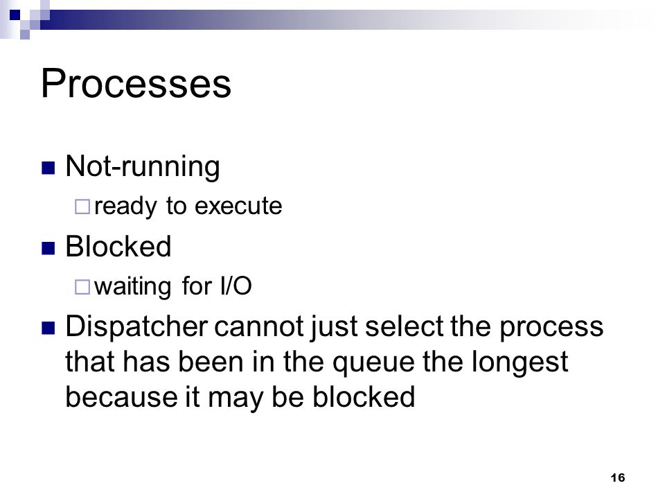 Processes Not-running Blocked