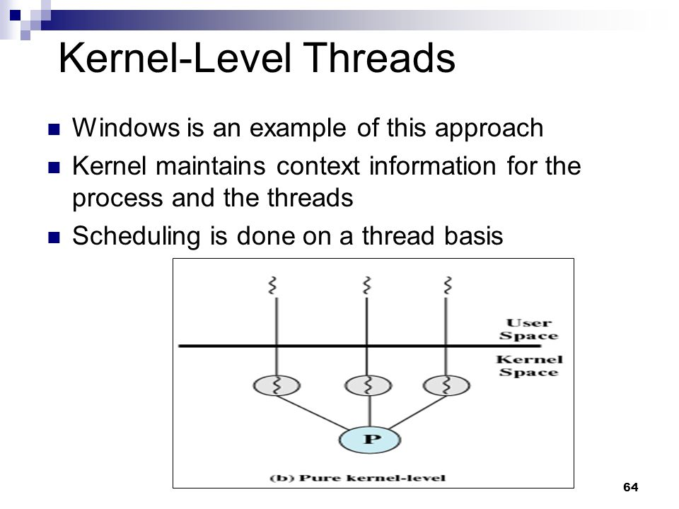 Kernel-Level Threads Windows is an example of this approach