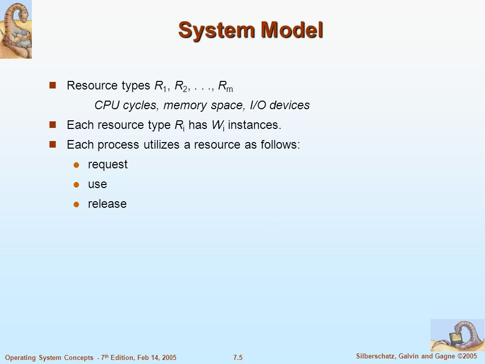 System Model Resource types R1, R2, . . ., Rm