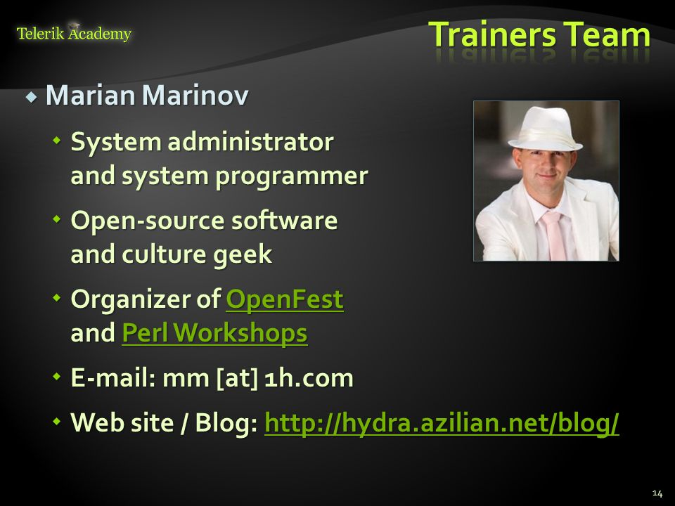 Trainers Team Marian Marinov