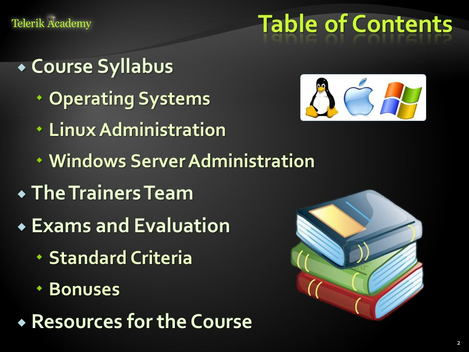 Table of Contents Course Syllabus The Trainers Team