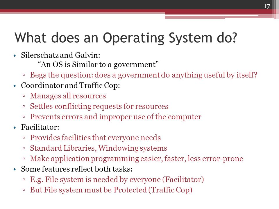What does an Operating System do