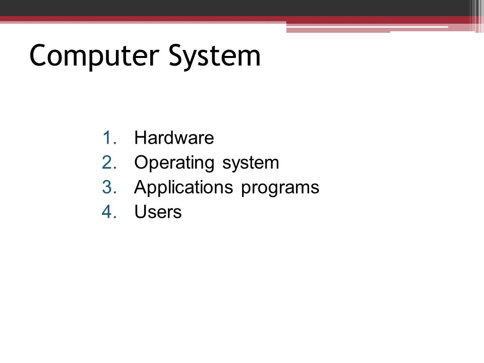 Computer System Hardware Operating system Applications programs Users