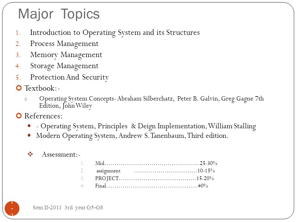 Major Topics Introduction to Operating System and its Structures