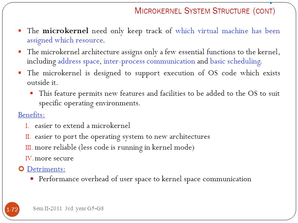 . Microkernel System Structure (cont)